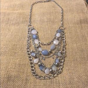 Long blue and silver necklace!